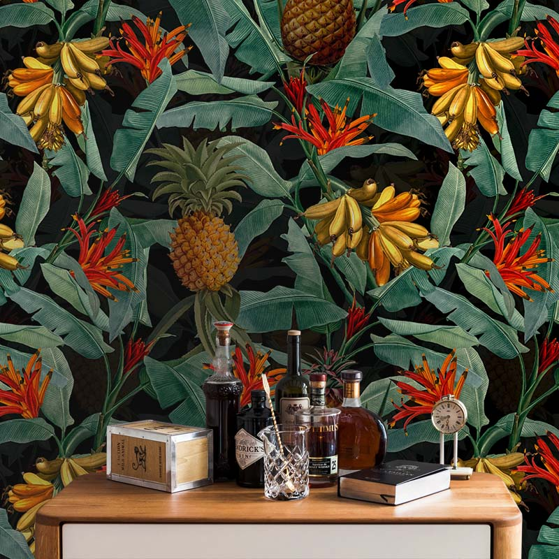 Tropical Leaves Pineapples and Bananas – Black