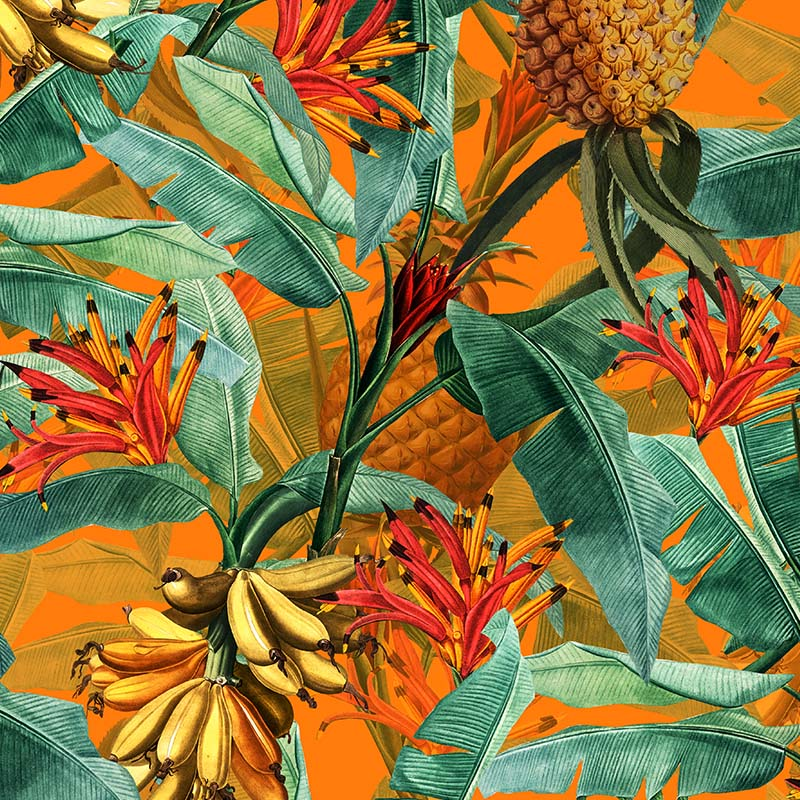 Tropical Leaves Pineapples and Bananas – Orange