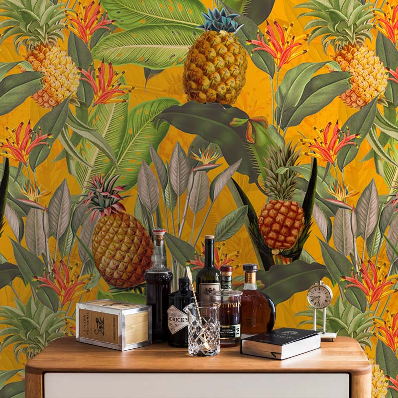Tropical Leaves and Pineapples – Orange