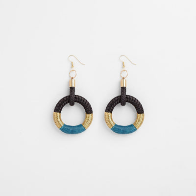 TURQUOISE HOOP EARRINGS PICHULIK JEWELRY. Intentional and ethical 70's hoop earrings with colourful woven details.