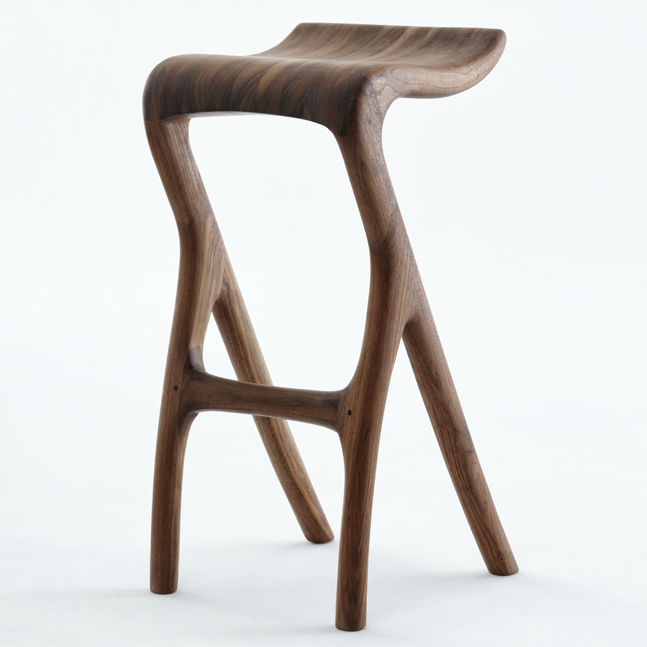 Umthi Kitchen/ barstool by Meyer Von Wielligh. Inspired by natural, the Umthi kitchen/barstool design focuses on the materials & allows the wood to dictate its natural form.