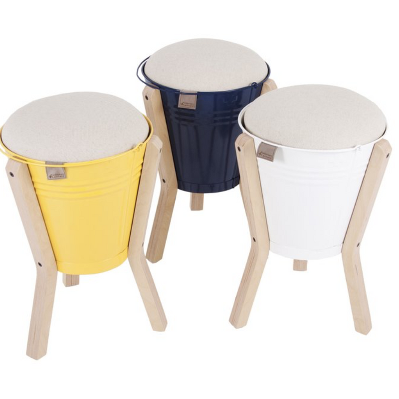 BUCKET STOOL WHITE by Sarza store at SARZA. bucket stools, furniture, Nested, Nested NY, Pedersen + Lennard, stools