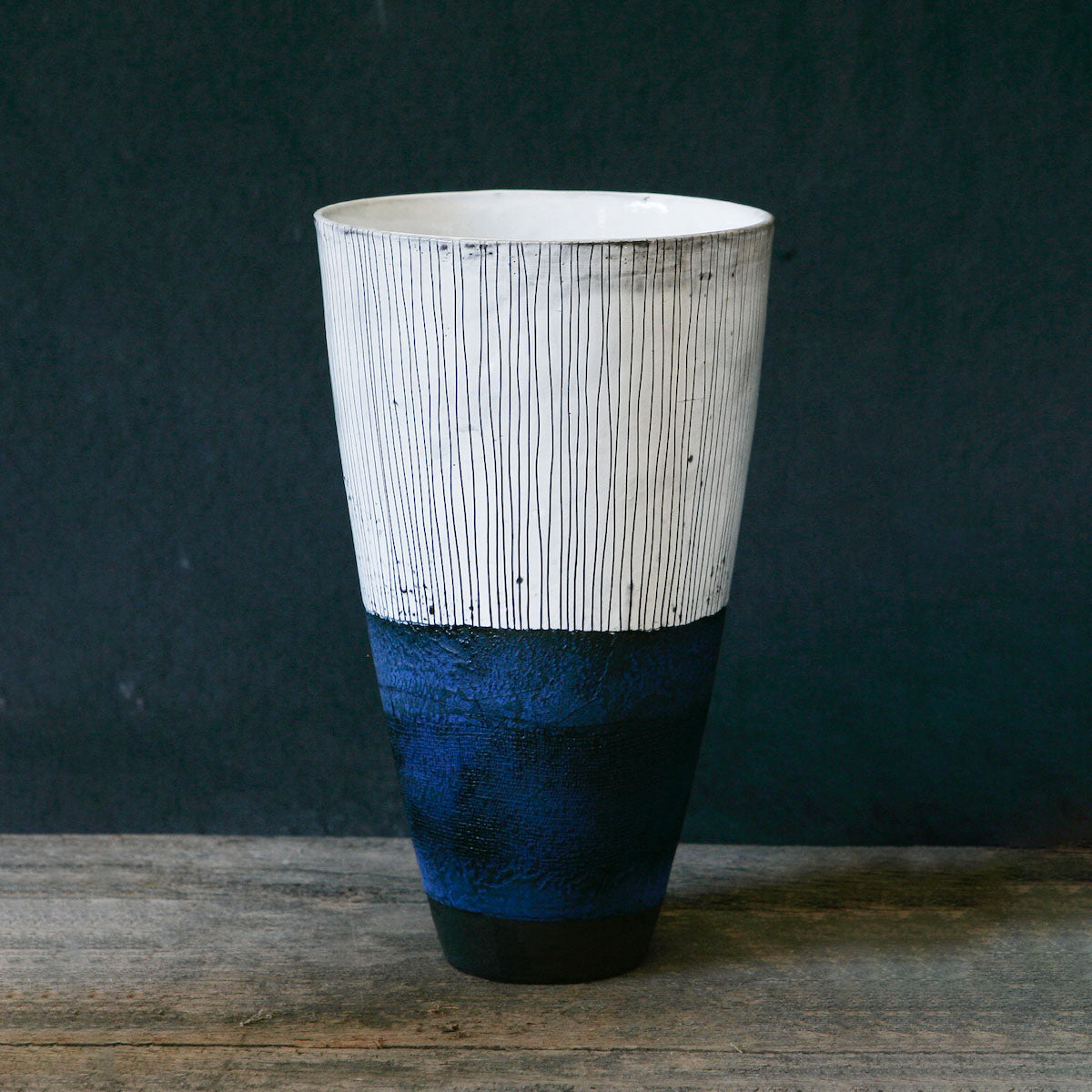 VASE WITH SCRATCH DETAIL - INDIGO by Helen Vaughan Ceramics at SARZA. Ceramics, decor, decorative, Helen Vaughan, Homeware, Vases, Vessels