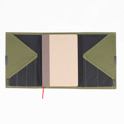 NOTEBOOK ORGANIZER B6 RACING GREEN by Wren at SARZA. accessories, Evolution & Wren Collab, notebook organiser, racing green, recycled material, stationery, Wren