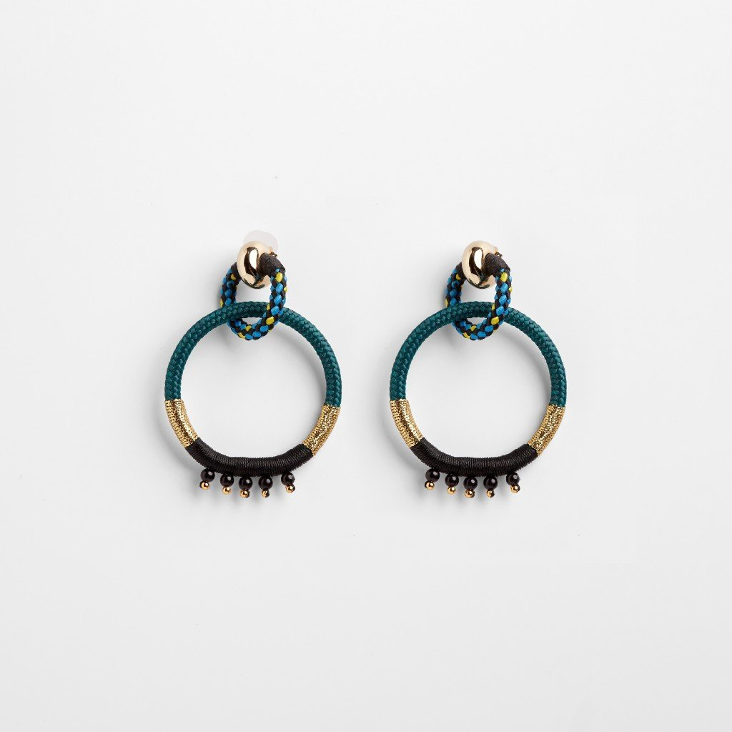 YOKED A EARRINGS BY PICHULIK JEWELRY. Ethical double loop earrings made out of rope. Handcrafted in Cape Town, South Africa.