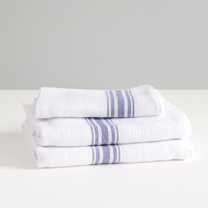 MUNGO ALL BLUE WILLOW WEAVE TOWEL by Mungo Design. These soft, absorbent and long lasting towels have a plain weave stripe and come in various colourways. They are woven with pure cotton grown in Swaziland.