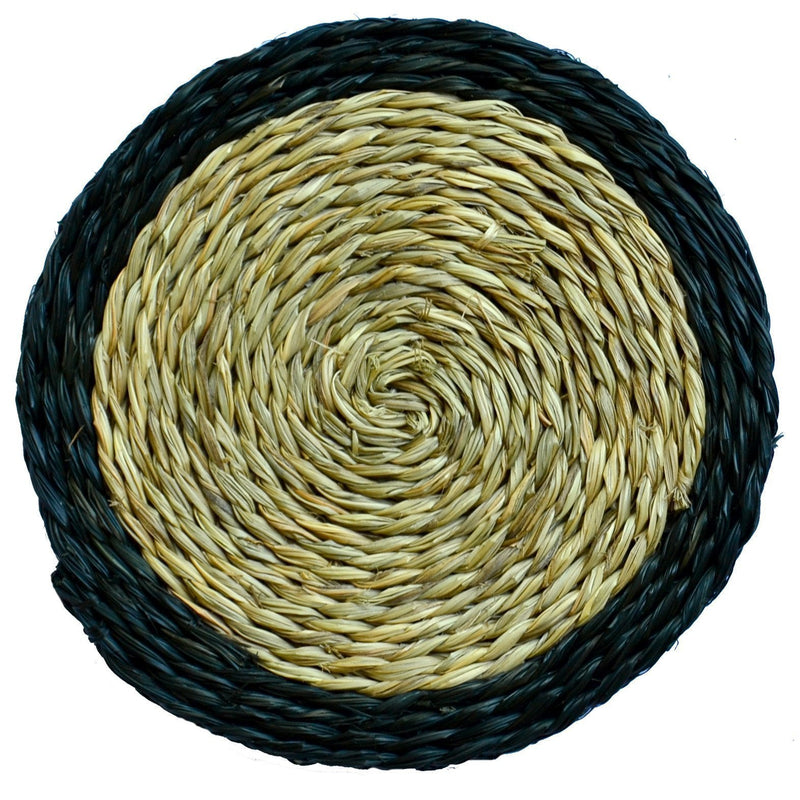 GRASS ROUND COASTERS WITH TRIM COLOUR