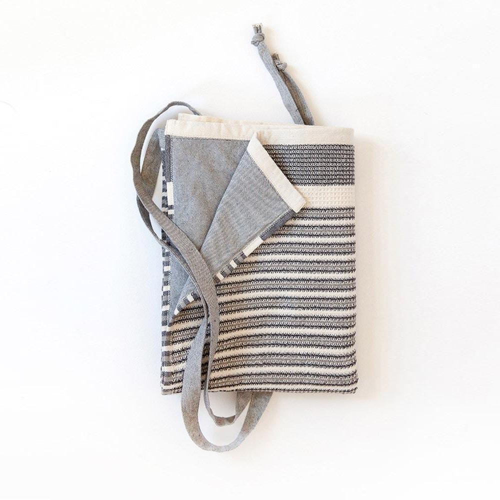 BLACK & WHITE MAN CLOTH by Mungo Design. A stylish pure cotton apron/cloth designed especially for a male chef/BBQ Master. This male cloth has an absorbent honeycomb weave, with a hook for easy hanging.