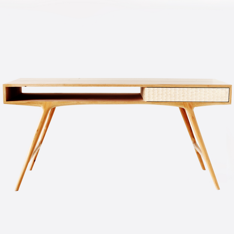 Blacktail Desk by Meyer Von Wielligh Furniture Design. Inspired by South Africa's national fish, the blacktailor galjoen, this desk is defined by a scale-like pattern that is hand ground onto the wooden surface of the doors.