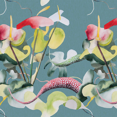 Tropical Bloom – Blue by Robin Sprong at SARZA. Botanical, Floral, Jane le Besque, Robin Sprong, Wallpaper