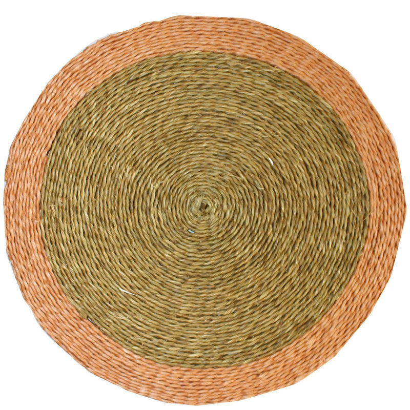GRASS PLACEMAT WITH TRIM COLOR by Gone Rural at SARZA. 12.6'', Gone Rural, grass, medium, natural, placemats, tableware, trim, trim color