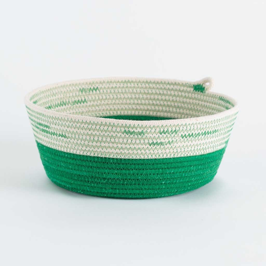 BOWL GREENERY BY MIA MELANGE HOMEWARE. These multi-purpose bowl baskets are available in three sizes. The three sizes fit together as nesting baskets. Made from 100% cotton rope.