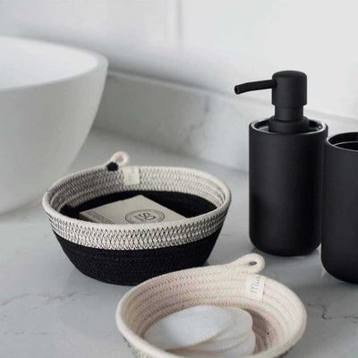 BOWL LIQUORICE BY MIA MELANGE HOMEWARE. These multi-purpose bowl baskets are available in three sizes. The three sizes fit together as nesting baskets. Made from 100% cotton rope.