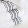 CHARCOAL WILLOW WEAVE TOWEL by Mungo Design. These soft, absorbent and long lasting towels have a plain weave stripe and come in various colourways. They are woven with pure cotton grown in Swaziland.