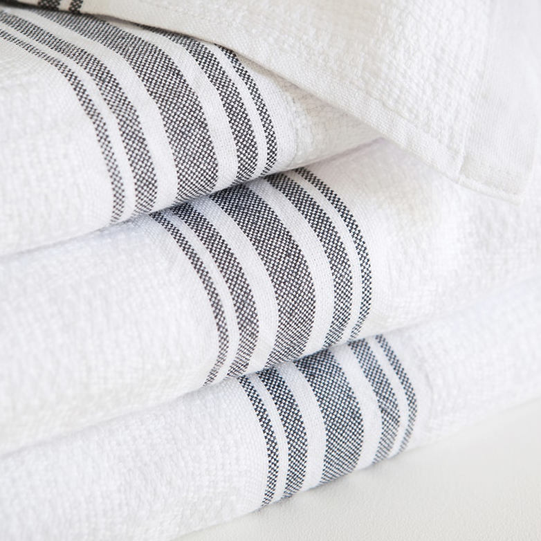 CHARCOAL WILLOW WEAVE TOWEL by Mungo at SARZA. charcoal, cotton, linens, Mungo, towels, willow weave towels