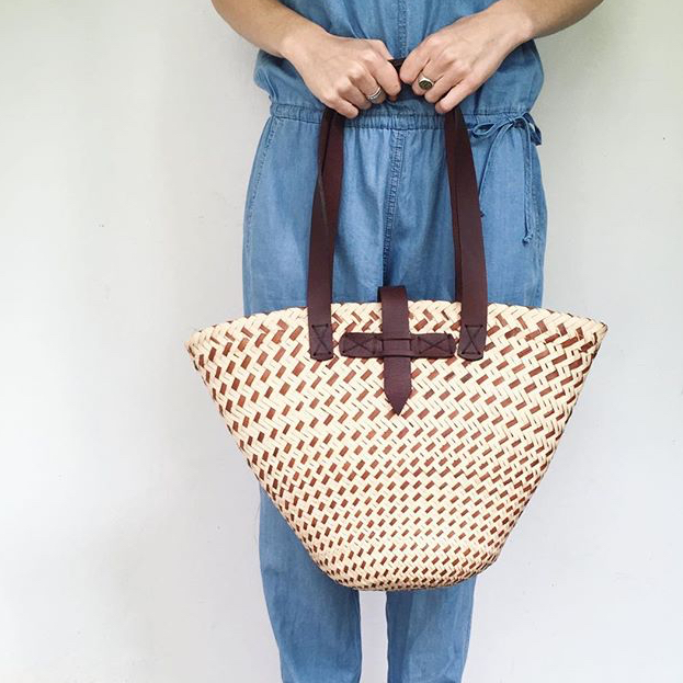 CHOCOLATE LEATHER HANDLE BUCKLE BASKET by Perfect _IMperfect at SARZA. accessories, bags, baskets, buckle, chocolate, handle, leather, Perfect_IMperfect
