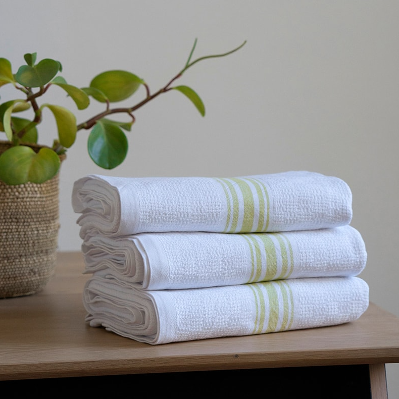 CITRONELLE WILLOW WEAVE TOWEL by Mungo Design. These soft, absorbent and long lasting towels have a plain weave stripe and come in various colourways. They are woven with pure cotton grown in Swaziland.