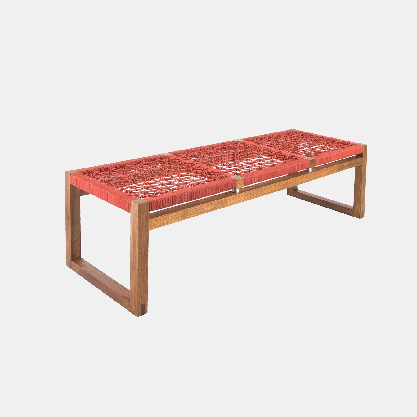 Cube Bench-2 seater by Vogel Design. A solid wooden bench with a customizable weave and cord colors and different timber and stain options. Shown here in vibrant red cross hatch weave.