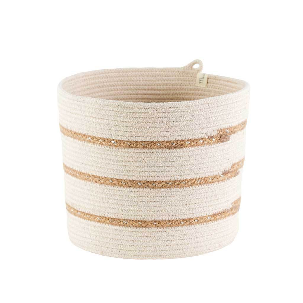 CYLINDER BASKET IVORY WITH JUTE STRIPES by Mia Melange at SARZA. 100% COTTON, baskets, cotton, cylinder, decor, homeware, ivory, JUTE STRIPES, mia melange, planters, STORAGE BASKETS, woven