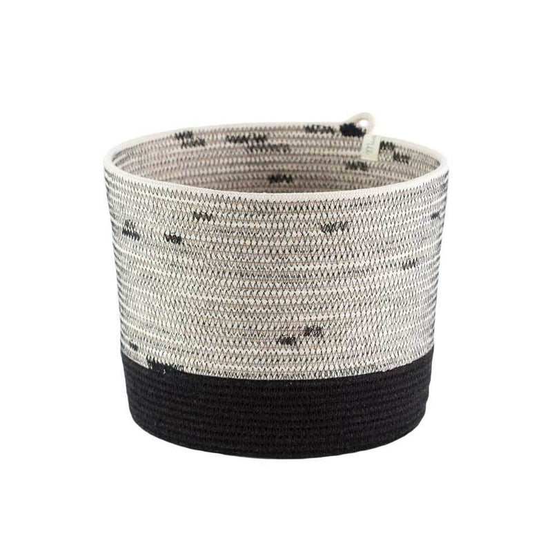 CYLINDER BASKET LIQUORICE by Mia Melange at SARZA. 100% COTTON, baskets, cotton, cylinder, decor, homeware, liquorice, mia melange, planters, STORAGE BASKETS, woven
