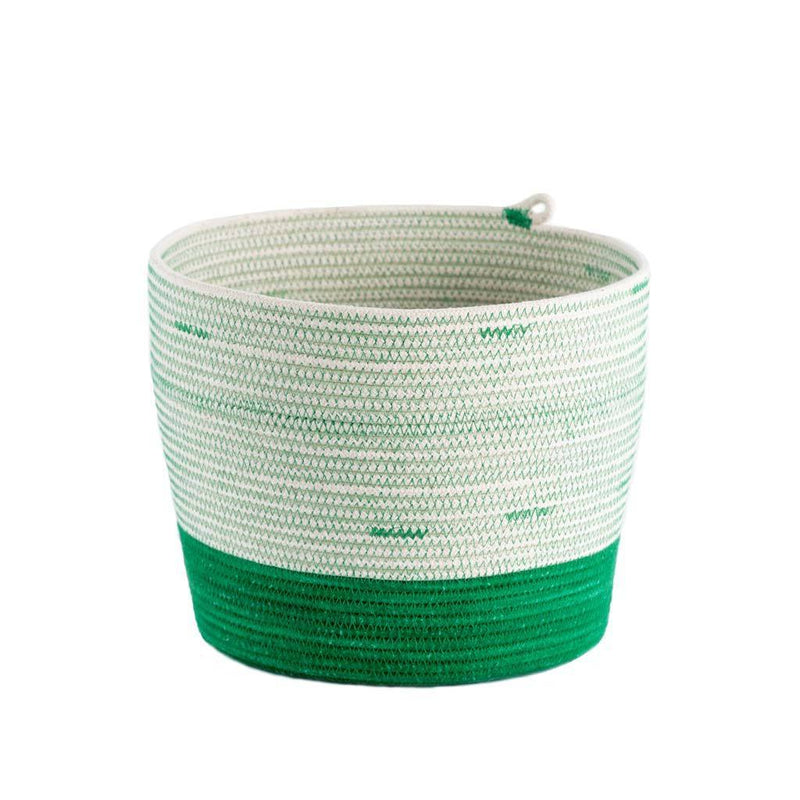 CYLINDER BASKET GREENERY BY MIA MELANGE. This basket is great to use for pot plants, or for holding kitchen utensils, bathroom accessories, or miscellaneous collections. Made from 100% cotton rope