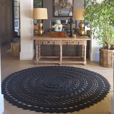 Robala Custom Made Doily Round Rug by Fibre Designs. The Verandah Collection rugs are hard-wearing, elegant and luxurious, suitable for both indoor or outdoor & easy to maintain.