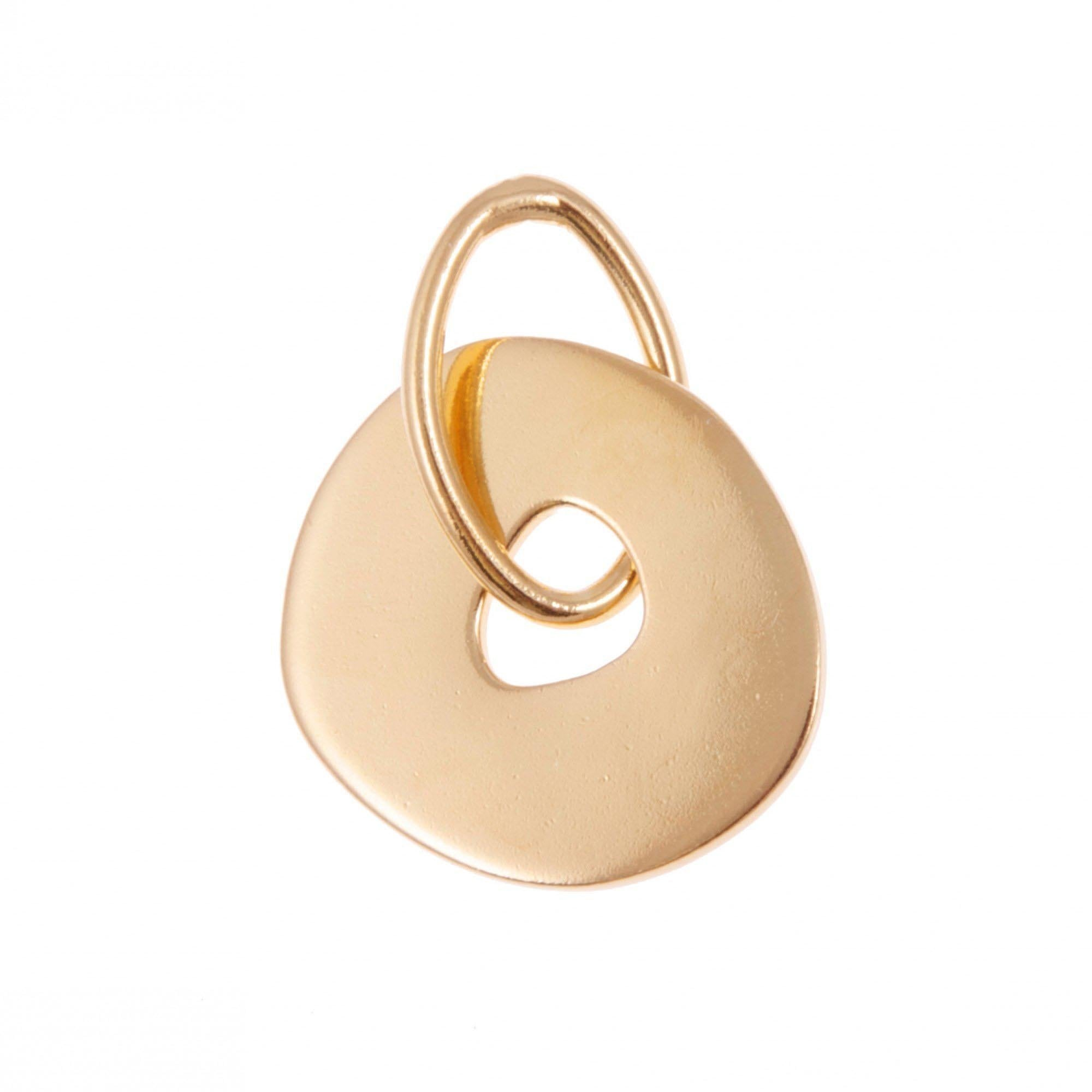 DONUT PENDANT BY KIRSTEN GOSS JEWELRY. Hand cut 'donut' shaped pendant designed to attach to the signature lifesaver necklaces. Beautifully handmade in 18kt gold vermeil.