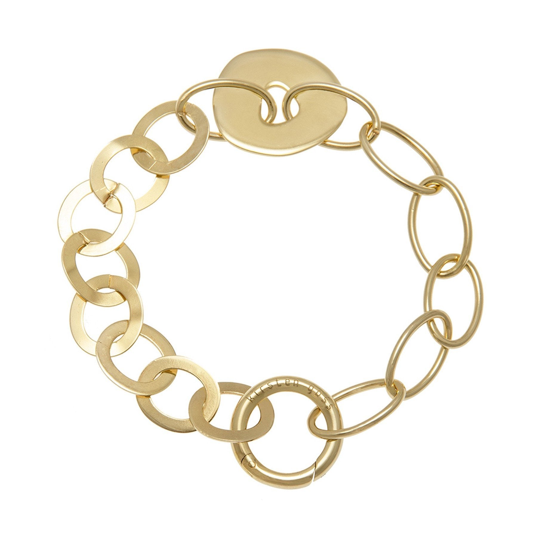 DONUT MIXUP19 LIFESAVER BRACELET JEWELRY BY KIRSTEN GOSS. Mixed link lifesaver bracelet with large donut shape and signature clasp, for charms to be clipped on and off. A beautiful handmade piece in 18kt gold vermeil.
