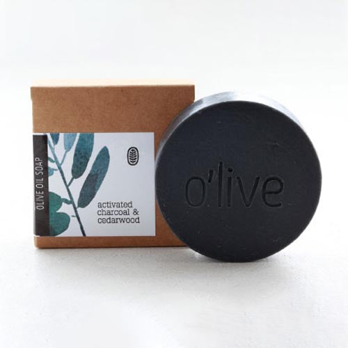 FACE SOAP - ACTIVATED CHARCOAL & CEDARWOOD by O'live at SARZA. bar, body & wellness, body products, face soaps, homemade soaps, Olive, round, soaps