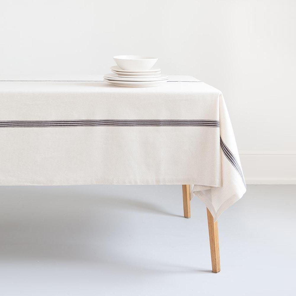 MUNGO USA NEW YORK FRENCH NAVY ON NATURAL PROVINCIAL STRIPE TABLE CLOTH