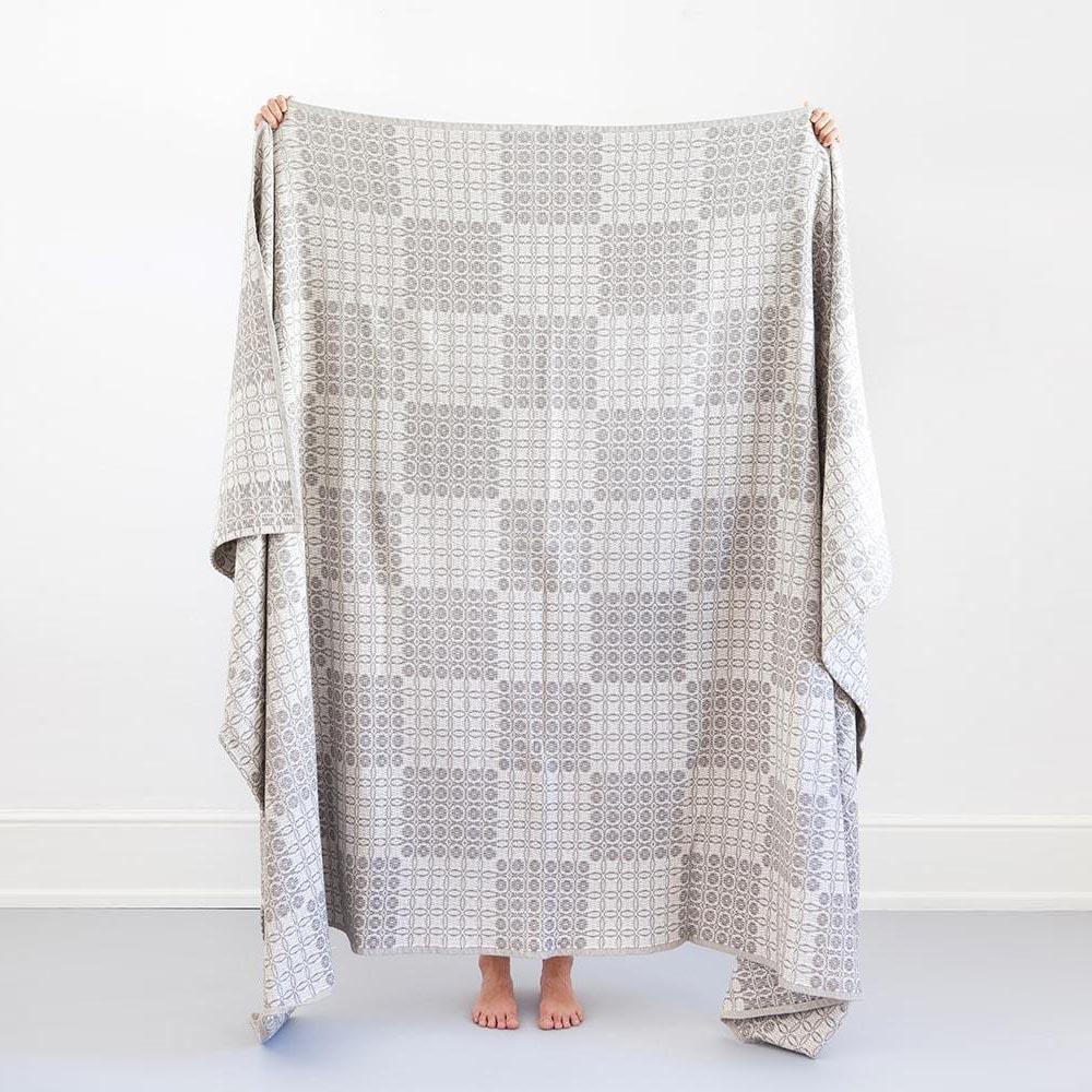 GREY JUNO BLANKET by Mungo Design. A thick and robust 100% cotton blanket, ideal for the lounge or bedroom. The Juno weave was inspired by the traditional coverlet patterns woven in America during the 18th Century. Made in South Africa.