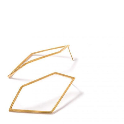 HERTZTON EARRINGS - JEWELRY BY KIRSTEN GOSS. Large, open geometric stud earrings. Beautifully handmade in 18kt yellow gold vermeil.