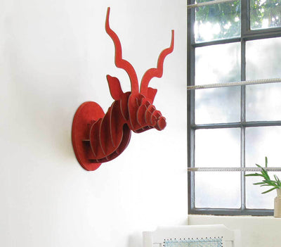 KUDU TROPHY HEAD IN RED SUEDE by Head on Design at SARZA. birch ply, decor, head, head on design, Kudu, leather, suede, wall art, Wall sculptures
