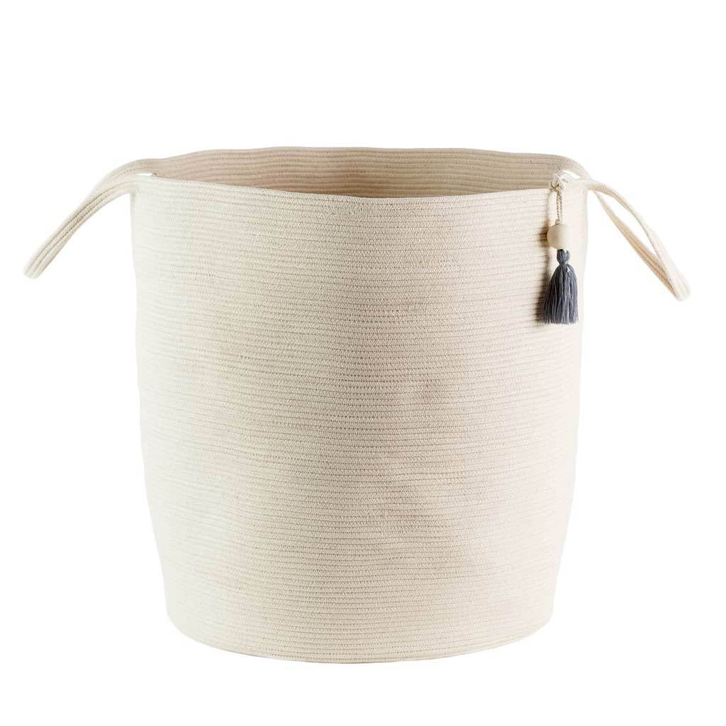 FLOOR BASKET IVORY by Mia Melange at SARZA. 100% COTTON, baskets, containers, decor, FLOOR BASKETS, homeware, ivory, mia melange, storage, STORAGE BASKETS, woven