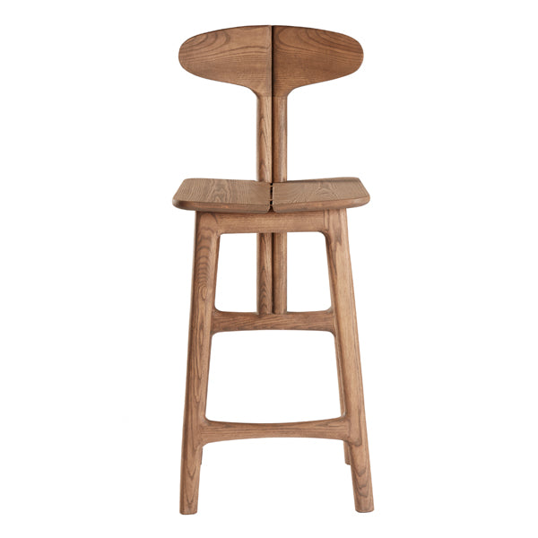 Leaf Barstool by Meyer Von Wielligh. This unique barstool is made of oak with a mid-brown stain. This Leaf Range is inspired by the organic lines found throughout nature and the forests and lush landscape of the Garden Route, offering a fresh silhouette in each piece with playful yet contemporary lines.