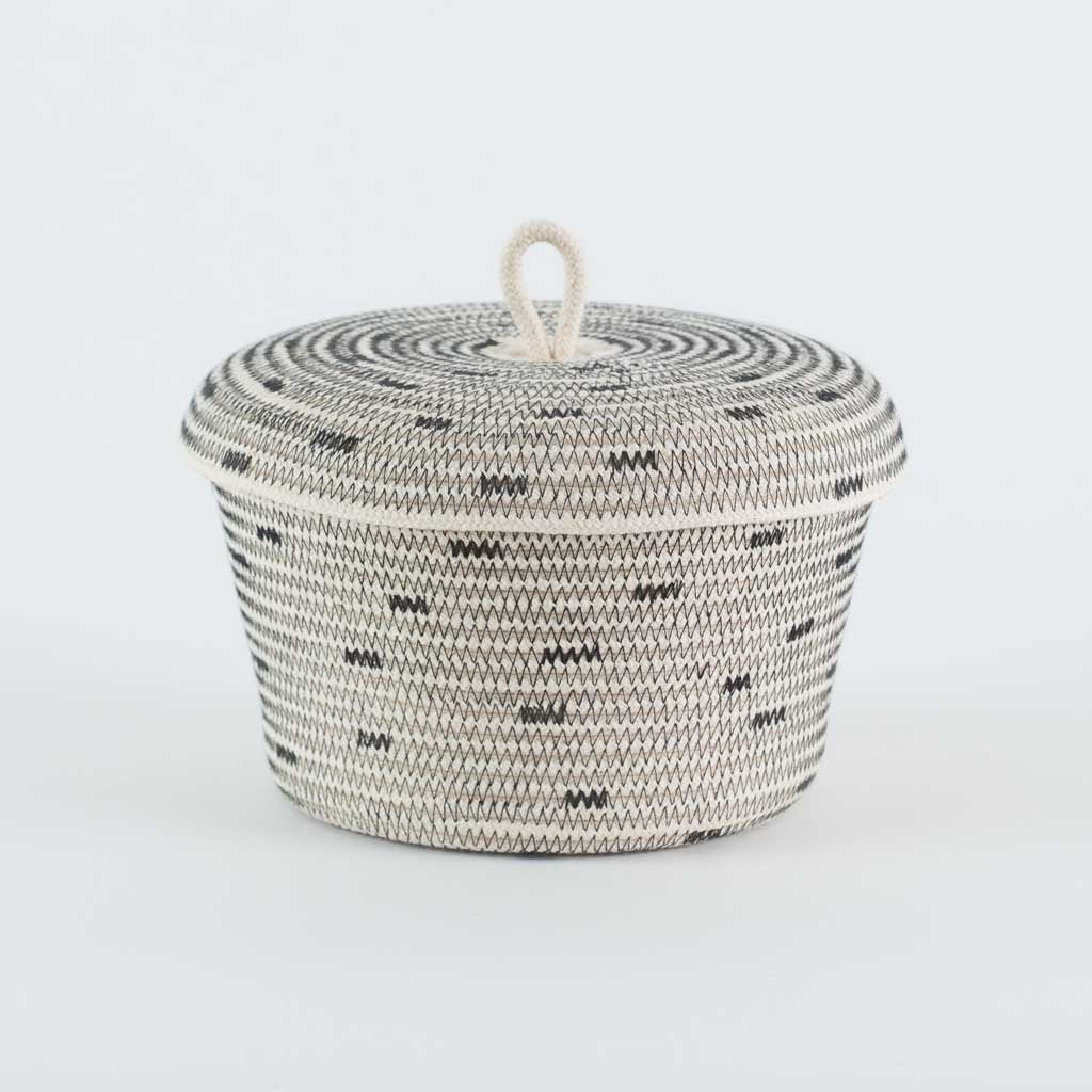 Mia Melange USA New York LIDDED BOWL BASKET STITCHED