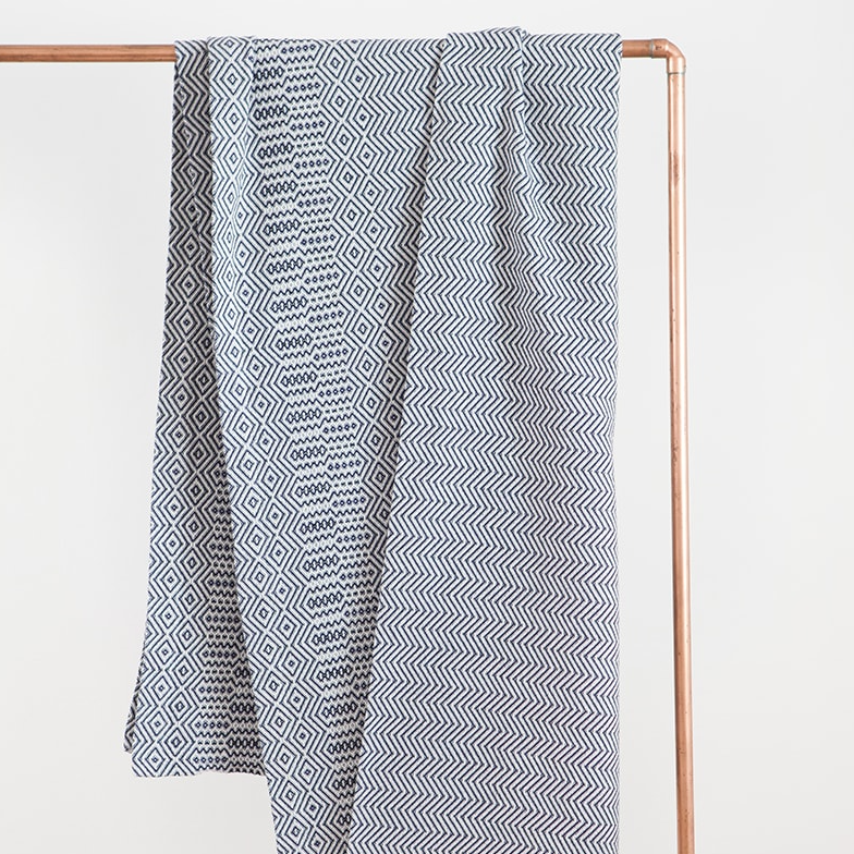 MIDNIGHT BAKUBA THROW by Mungo at SARZA. 100% COTTON, bakuba, blankets, linens, midnight, Mungo, throws