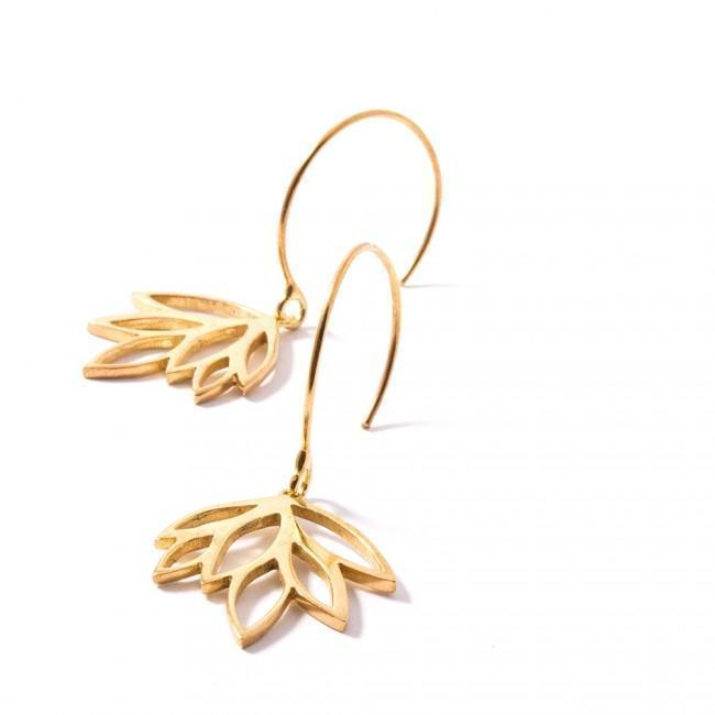 MINI BALTI EARRINGS - JEWELRY BY KIRSTEN GOSS. Mini organic leaf-shaped earrings on a hanging hook. Beautifully handmade in 18kt yellow gold vermeil.