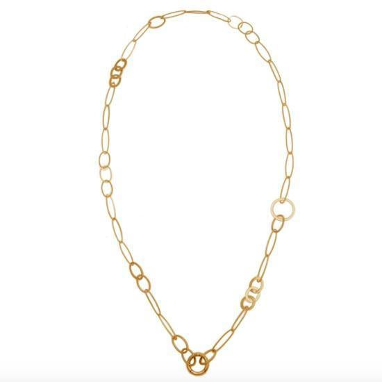 MIXED ZIPLINE80 LIFESAVER NECKLACE BY KIRSTEN GOSS JEWELRY. A refined chain in 18kt yellow gold vermeil with a variety of different links with the signature front-fastening 'lifesaver' clasp which allows for the addition of pendants of your choice to be clipped on and off.
