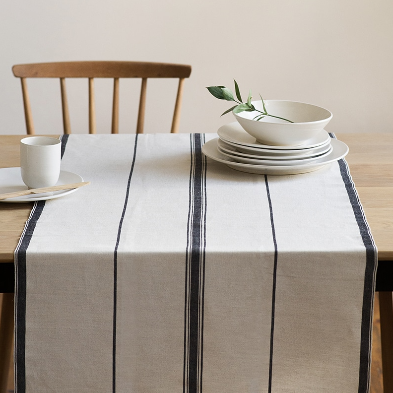 FRENCH NAVY LISBURN LINEN TABLE RUNNER
