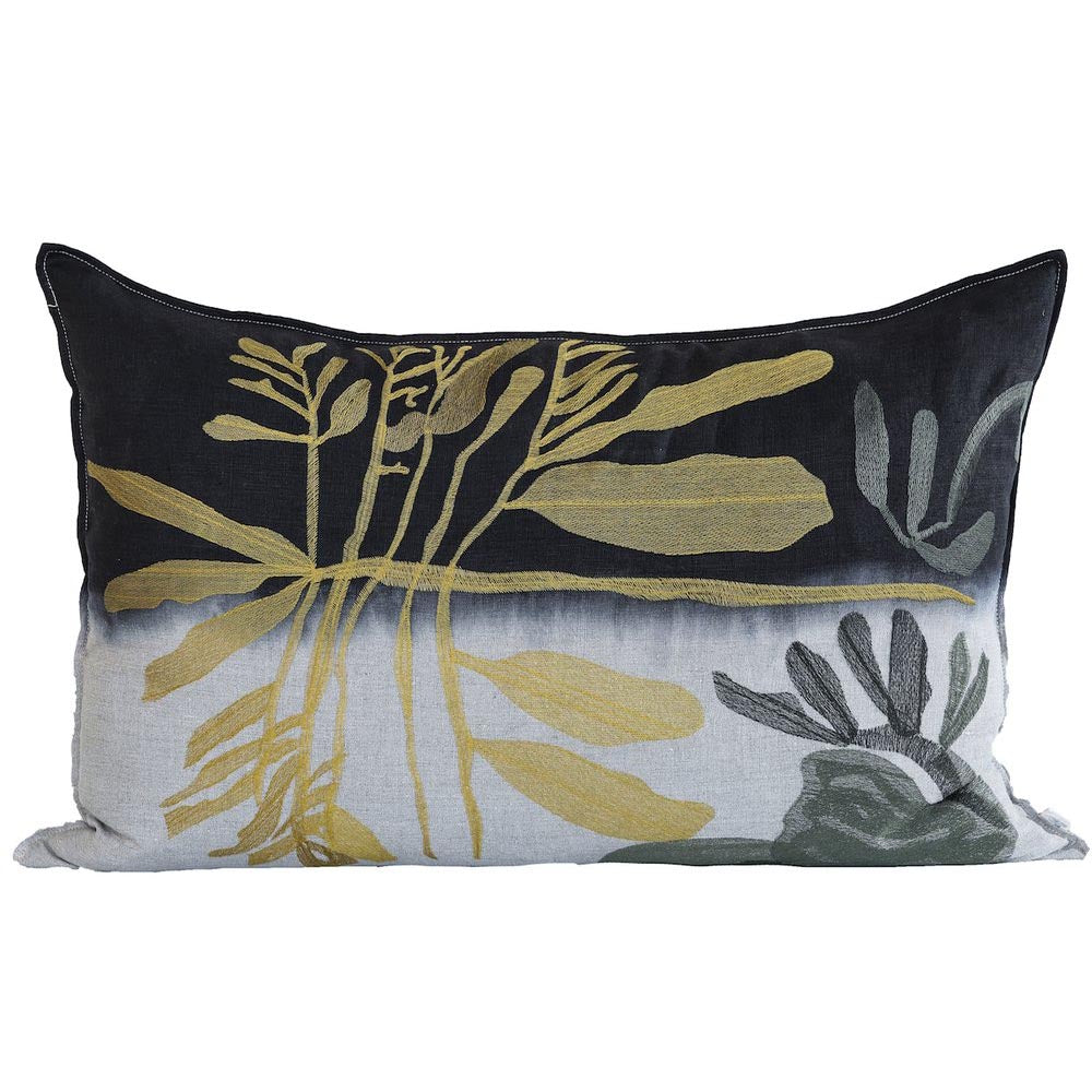 OCHRE LEAF EMBROIDERED THROW PILLOW by Evolution Product at SARZA. cushion covers, decor, dipped, embroidered, Evolution Product, homeware, Ochre leaf, scatter cushions, throw pillows
