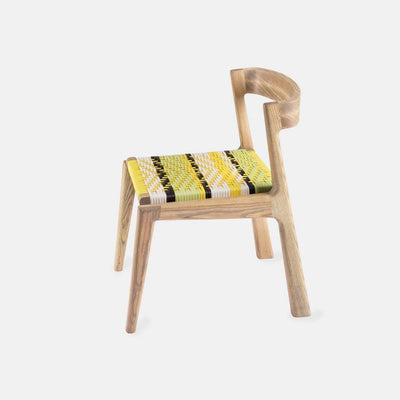 The Odi Dining Chair by Vogel Design. Made from a selection of timbers and finishes, it features a comfy woven base, available in an assortment of patterns, weaves and colors.