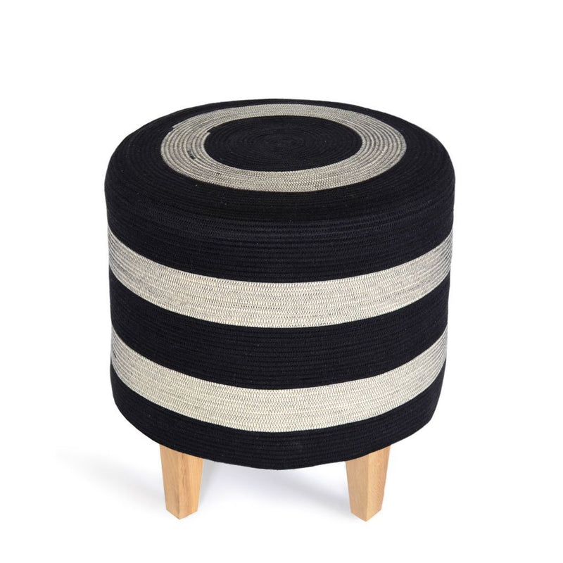 OTTOMAN LIQUORICE BY MIA MELANGE. These ottomans are sure to make a statement in your home or office! The cover is made from cotton rope (cover removable for easy cleaning) and the legs are ash wood.