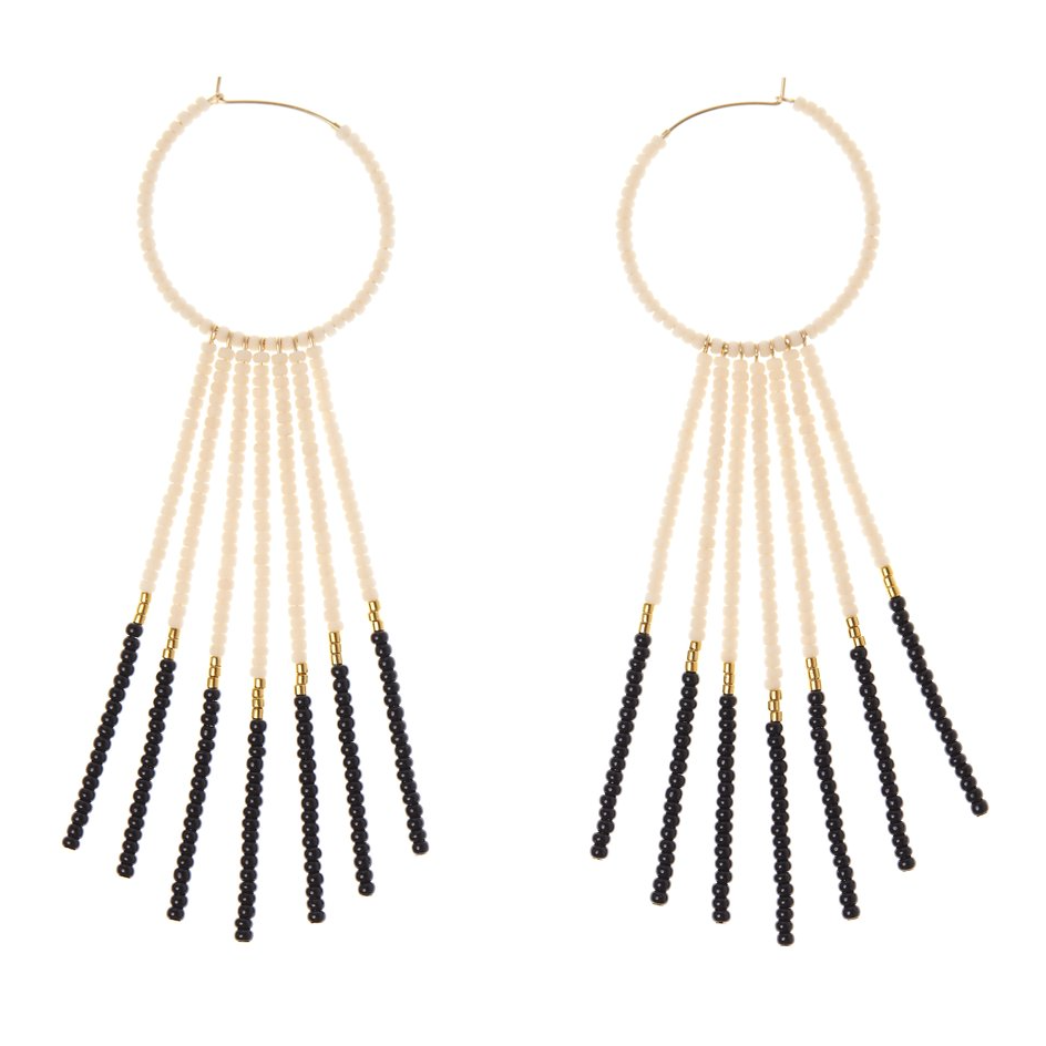 PORCUPINE EARRINGS - PINK, BLACK & GOLD - JEWELRY BY SIDAI DESIGNS. Bold glass beaded gold fill hoop earrings decorated with 7 x 14K beaded gold fill bars and blocks of 24K gold plated beads.