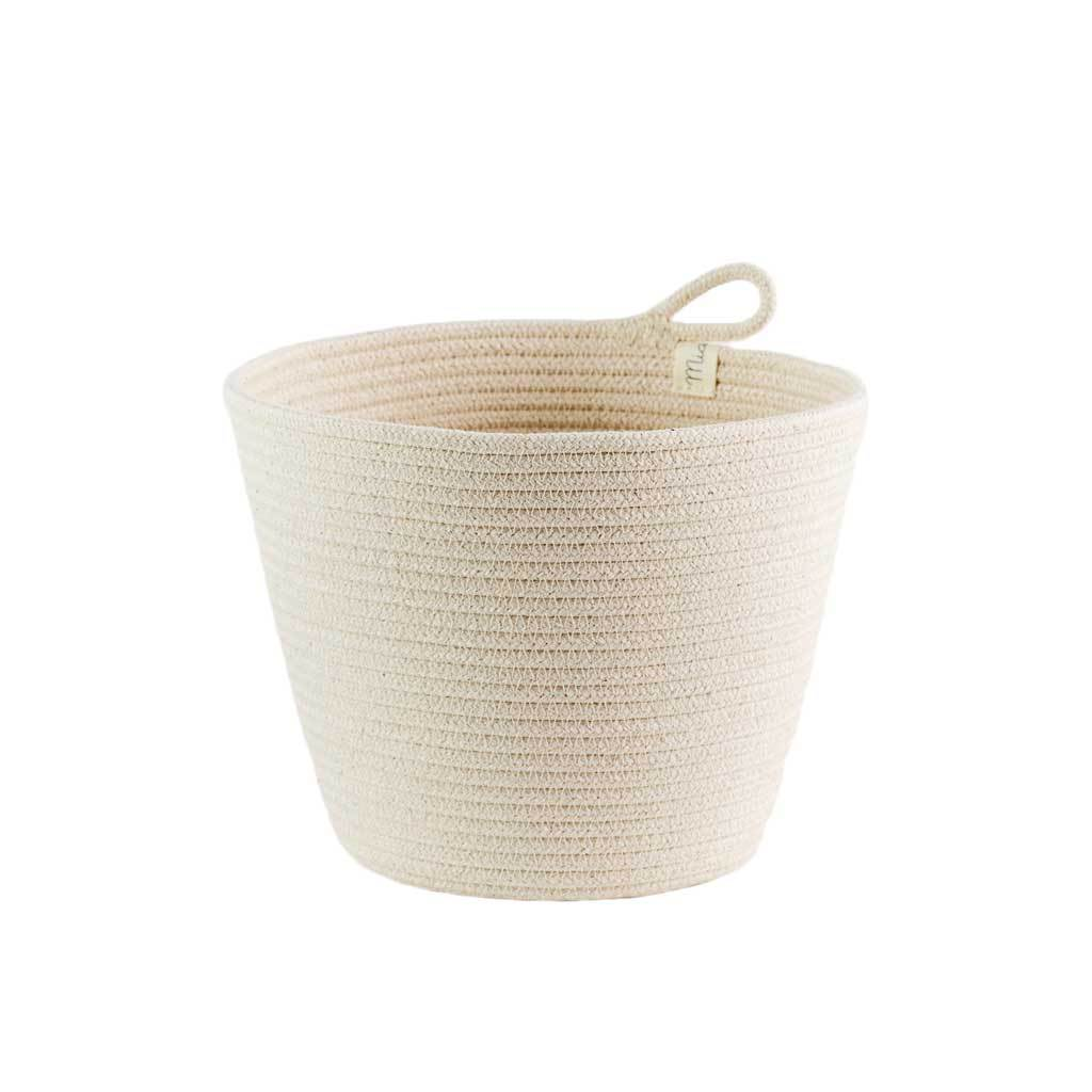 PLANTER BASKET IVORY BY MIA MELANGE. Add some greenery to your home with these unique planters. Available in three sizes. Made from 100% cotton rope which is sewn together in a coiling technique.