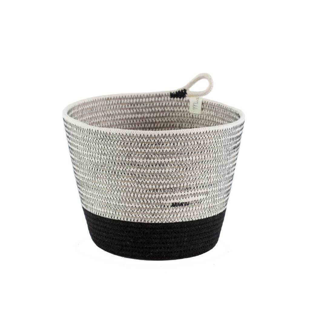PLANTER BASKET LIQUORICE by Mia Melange at SARZA. baskets, decor, homeware, mia melange, planter, planters, stitched