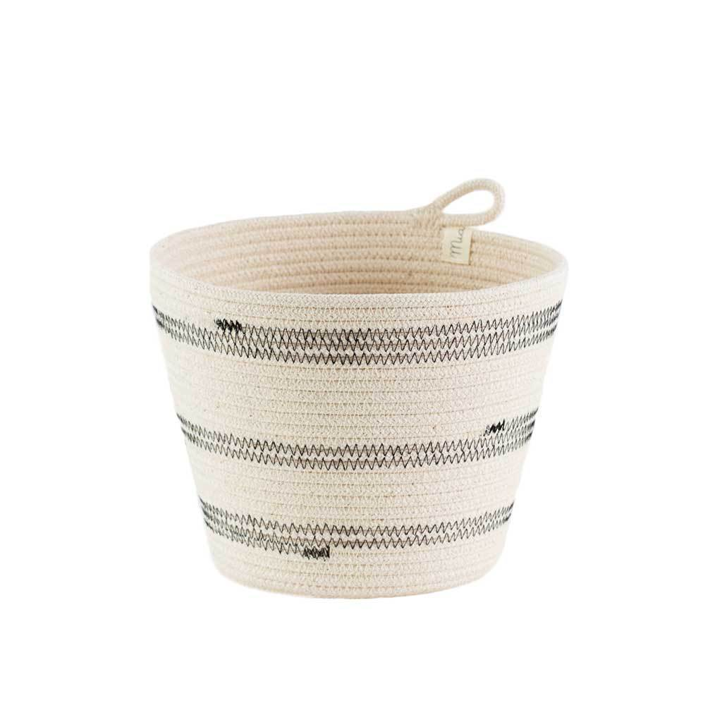 PLANTER BASKET STITCHED BLACK by Mia Melange at SARZA. baskets, homeware, mia melange, planter, planters, stitched