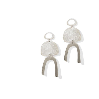 PLEASE MAKE UP THE ROOM EARRINGS - JEWELRY BY KIRSTEN GOSS. Hand crafted spun organic three tier drop studs. Beautiful handmade earrings in Sterling Silver