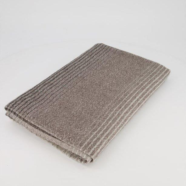 ALPACA THROW - BLACK & GREY OMBRE ON ECRU