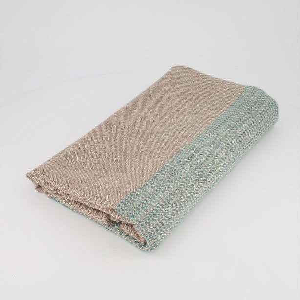 ALPACA THROW - TEAL HAND-PAINTED ON TAUPE by Quenti Alpaca at SARZA. alpaca, Aymara Throws, Linens, Quenti Alpaca, throws
